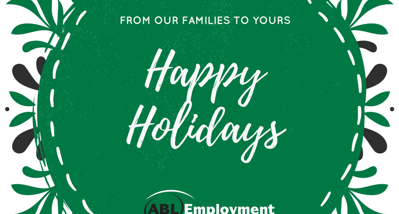 Happy Holidays card from ABL Employment