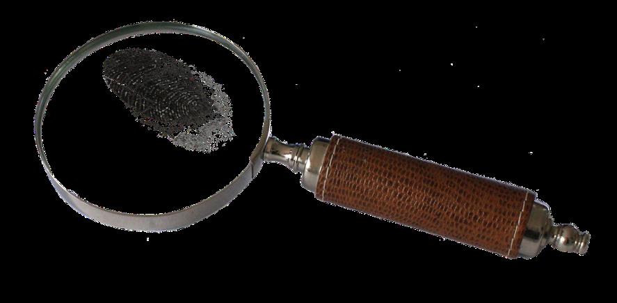 Magnifying glass looking at fingerprint