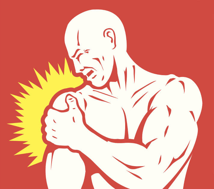 illustration of man holding a sore arm