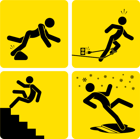 Stick figures demonstrating slips, trips, and falls