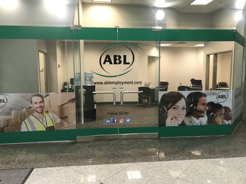 Exterior glass walls and signage from our ABL Careers office in Etobicoke