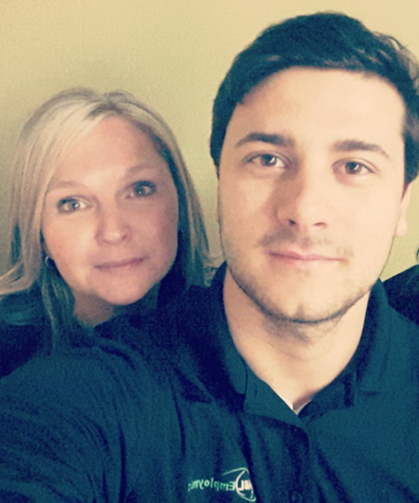 selfie photo of Lisa and Aaron from Woodstock office