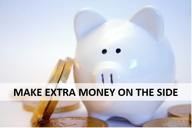 """ceramic piggy bank with text that says """"make extra money on the side"""""""
