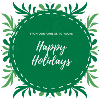 "Green circle with text that says ""from our families to yours, happy holidays"""