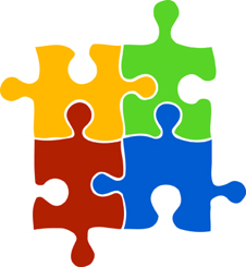 illustration of 4 interconnecting puzzle pieces