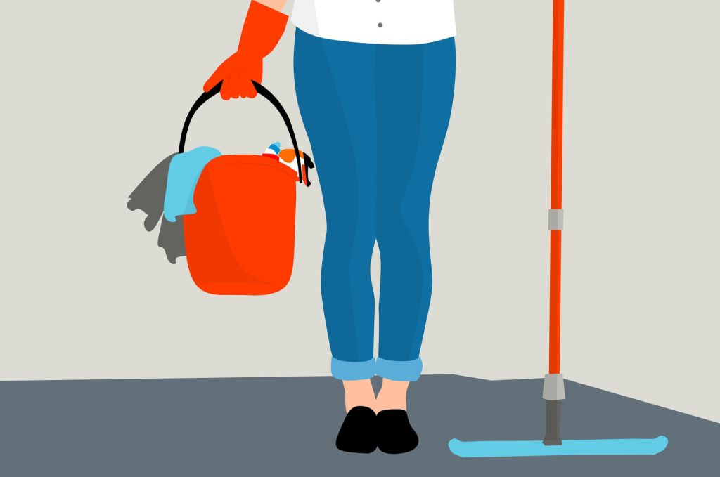 illustration of a person carrying a bucket of cleaning supplies and a mop