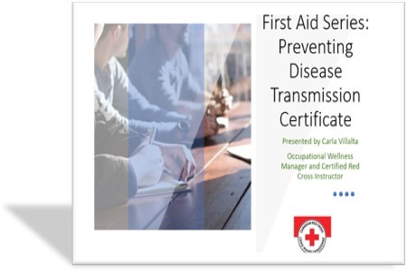 "Screen capture of title screen from presentation for ""First Aid Series, Preventing Disease Transmission Certificate"""