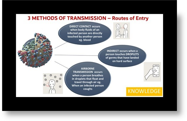 screenshot from PDT training presentation: 3 methods of transmission routes of entry
