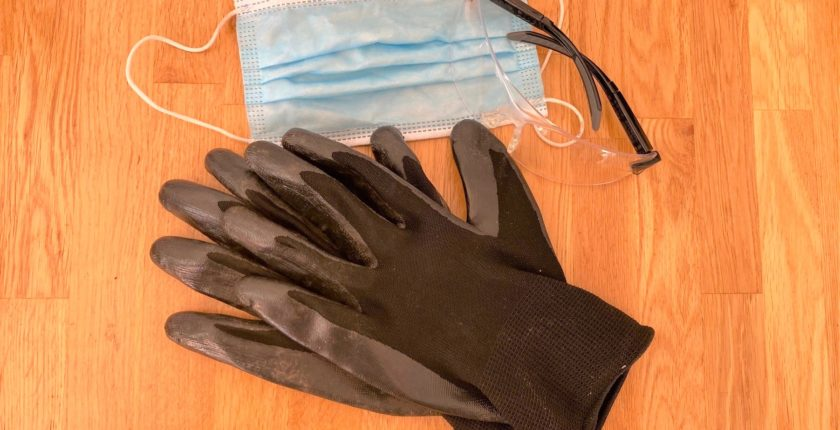 photo of protective mask, goggles, gloves