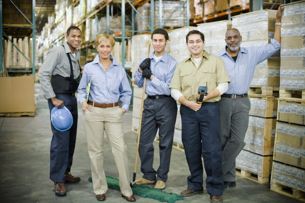 Warehouse team posing